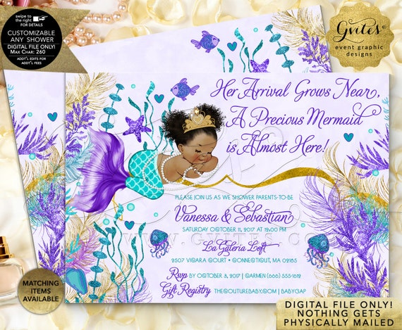 Afro Puffs Mermaid Baby Shower Invitations Gold Teal Violet Purple | JPG + PDF by Gvites