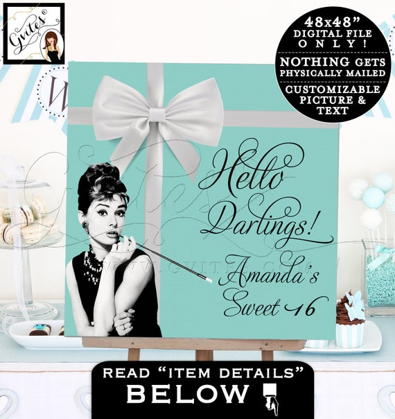 Sweet 16 Breakfast at Party Signs Audrey Hepburn party table backdrop, custom poster sign. PRINTABLE 48x48""