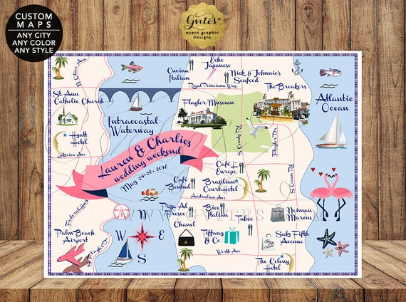 Custom Palm Beach Wedding Map | Nautical Theme Graphic Designs Themed Event Any City/ Theme/ Color/ Style. Gvites