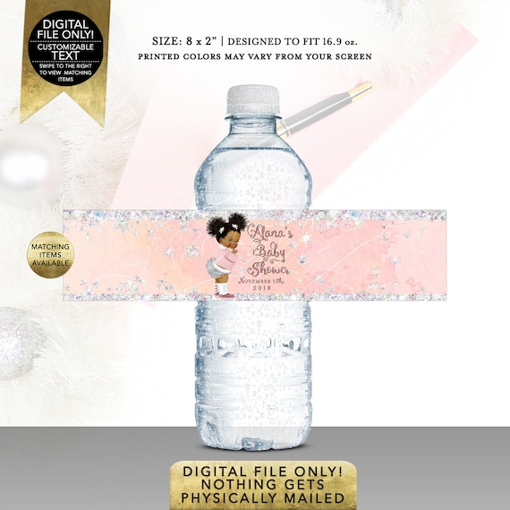 """Water Labels Party Favors/ Winter Wonderland Baby Shower/ Pink and Silver/ Baby it's Cold Outside African American. 8x2"""" 5 Per/ Sheet"""