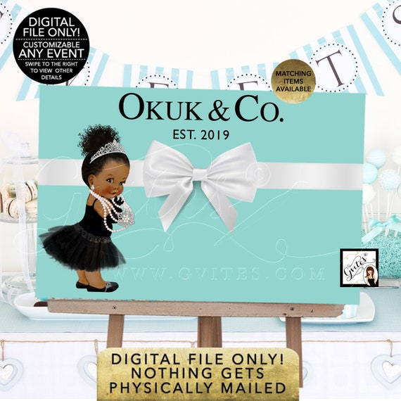 Baby and Co Backdrop Decorations/ Afro/ Bun Curly Hair/ poster signs/ birthdays/ blue decor/ DIY/ Digital