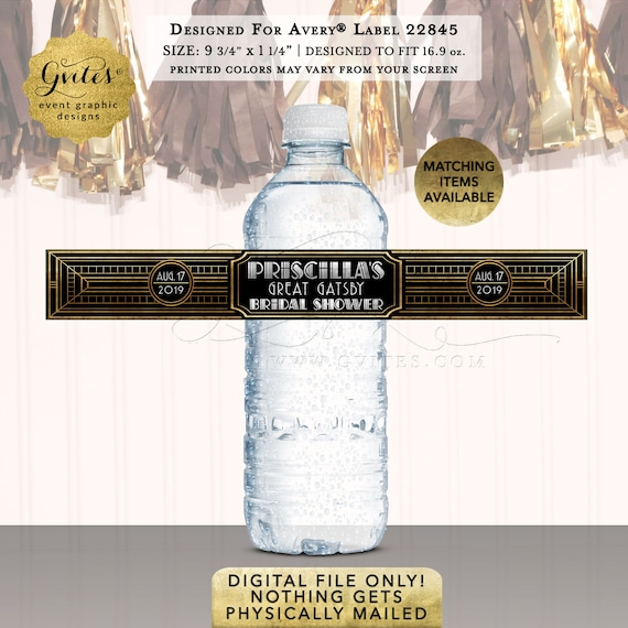 "Great Gatsby Bridal Water Labels/ Personalized Party Favors/ Gifts/ Stickers  9.75x1.25""/ 5 Per Sheet {Designed Avery® 22845}"