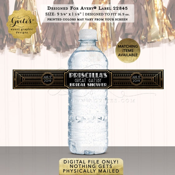 "Great Gatsby Bridal Water Labels / Personalized Party Favors/Gifts/Stickers  9.75x1.25""/5 Per Sheet {Designed Avery® 22845}"