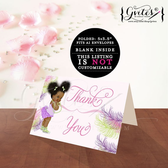 "Thank you card baby shower or birthday baby girl, thank you notes template  African American afro puffs PRINTABLE. 5x3.5""/2 Per/Sheet"