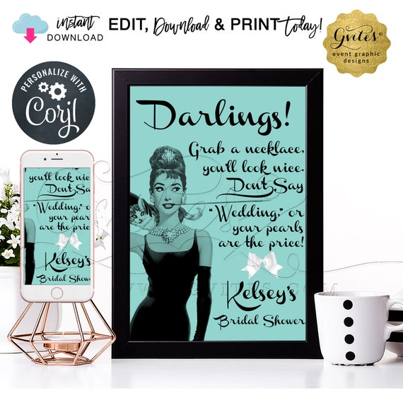 """Bridal Shower Pearl Necklace Game Sign - Audrey Hepburn PERSONALIZED Don't Say Wedding. 8x10"""" INSTANT DOWNLOAD. Edit With Corjl"""