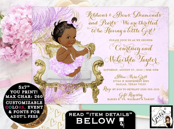 Lavender White & Gold Baby Shower invitations, African American   Digital File Only JPG + PDF Format   By Gvites