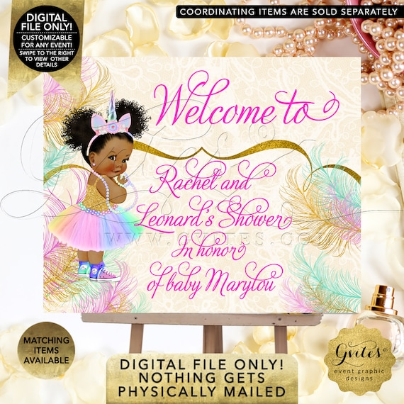 Welcome Unicorn Princess Baby Shower Sign | African American Rainbow Colors | Printable Digital File | JPG + PDF Format.