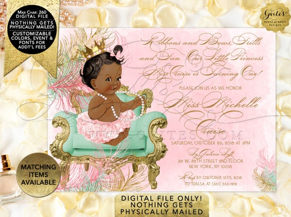 "Pink Mint Green & Gold First Birthday Invitations. Princess Vintage Baby Girl. Digital File Only! JPG + PDF 7x5"""