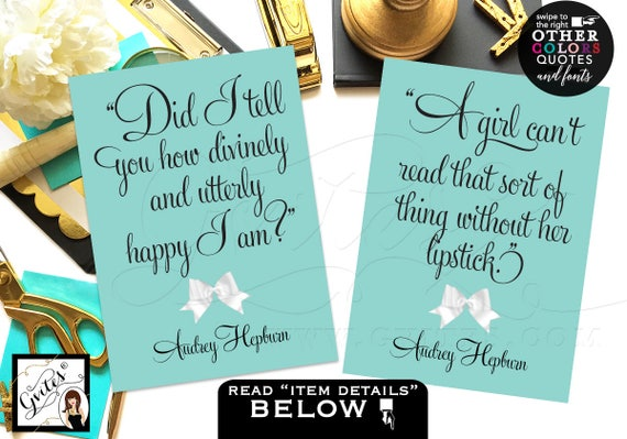 CUSTOMIZABLE Audrey Hepburn Quote Cards/ Vintage Bridal shower decorations wall art/ Turquoise Blue Birthday Party quote signs Set of 2