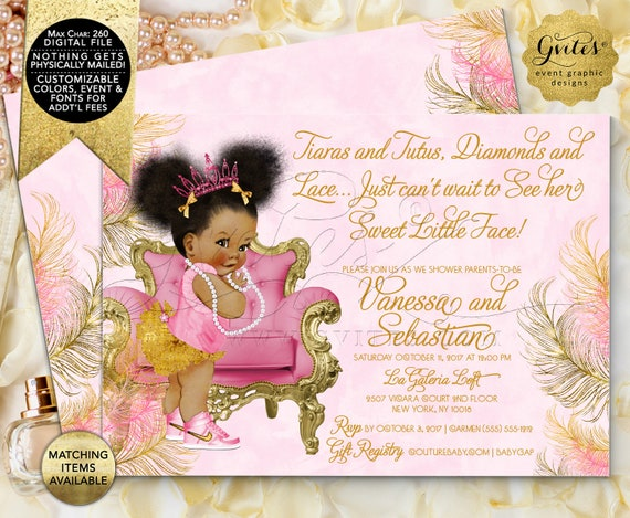Pink and Gold Baby Shower Printable Invitation, Tiaras Diamonds Pearls, African American Princess {Design: TIACH-110} By Gvites