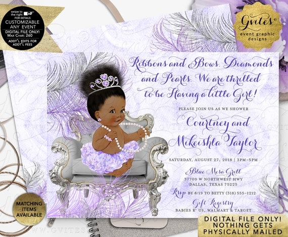 "Lavender & Silver Baby Shower Princess / African American / Ribbons Bows Diamonds Pearls / Tiara Gems / Printable/Digital/7x5"" Double Sided"