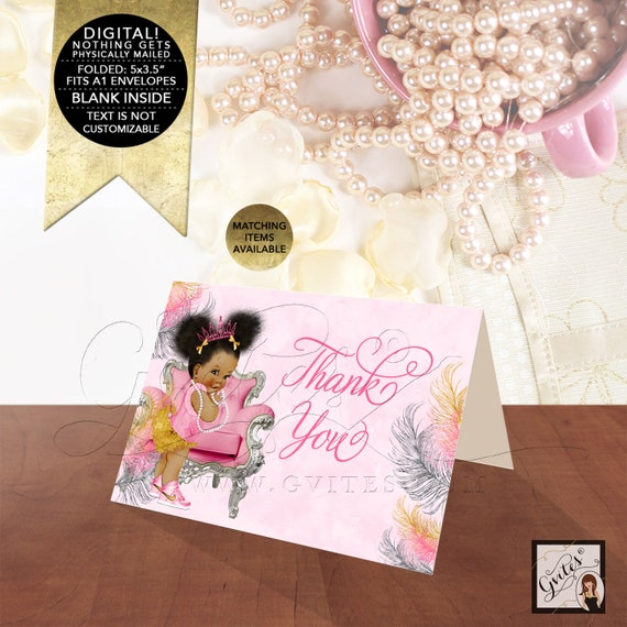 "Pink Gold Thank You Cards Baby Shower African American Princess Afro Puffs/ INSTANT DOWNLOAD 5x3.5"" 2 Per Sheet {Pink/ Silver/ Gold Feather}"