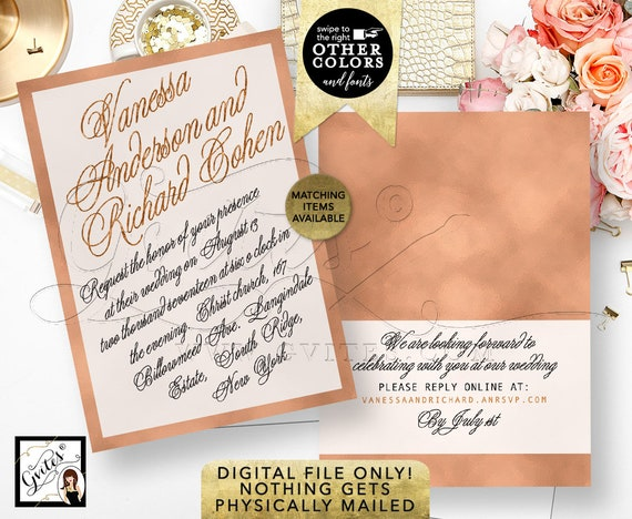 """Rose Gold Wedding Invitation Printable Template 