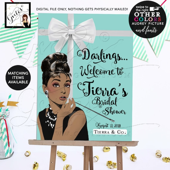 Welcome Bridal Shower Poster Signs | African American/ Caucasian Audrey Hepburn Party Theme. Printable/ JPG + PDF DIY