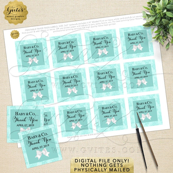 Baby Shower Tags for Party Favors | Digital File Only! JPG + PDF 2x2/12 Per Sheet | By Gvites