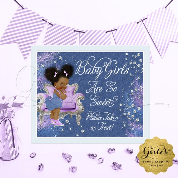 "Lavender Denim & Diamonds Treat Sign Babies are Sweet Have a Treat Baby Shower. Afro Puffs Vintage. {6x4"", 7x5"" or 10x8""}"