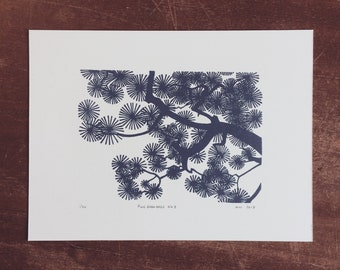 Pine Branches No.3 Linocut Print // Handmade // Original // Limited Edition