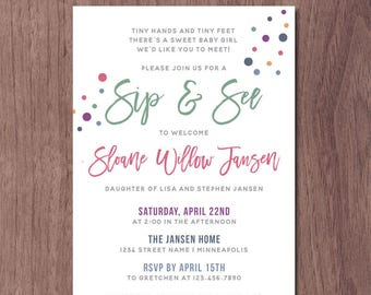 Baby arrival invitation new baby invitation meet and greet etsy modern sip and see invitation girl boy baby shower meet and greet invitation rainbow color dots baby sprinkle shower invite pink blue green m4hsunfo