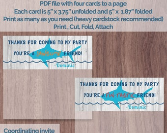 Shark Birthday Party Favor Bag Topper Favor Tag Foldable Thank You Tag Custom Birthday Goody Goodie Bag Loot Printable Surfer Ocean Bite
