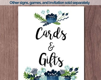 Cards and Gifts Baby Shower Game 8x10 Cards and Gifts Printable Sign Boy Rustic Wood Flowers Blue Flowers Vintage Printable