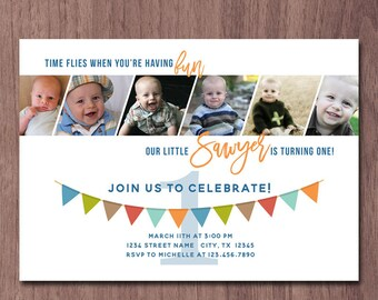 Modern Photo Collage Boy First Birthday Invitation 6 Photos Pictures 1st Birthday Invite Girl 1 year old in a flash Birthday Party banner