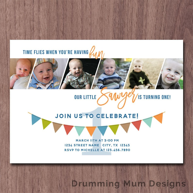 Modern Photo Collage Boy First Birthday Invitation 6 Photos