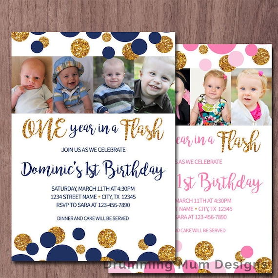 One Year In A Flash First Birthday Invitation Party Photo