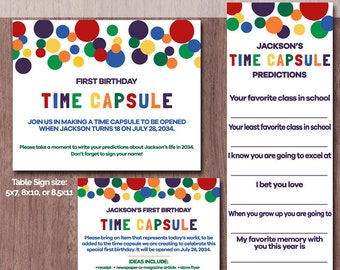 Time Capsule First Birthday BOY or GIRL 1st Birthday Printable Time Capsule Predictions Colorful Rainbow Dots Table Sign Baby Red Blue Green