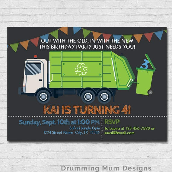 Garbage Truck Invitation Garbage Truck Birthday Party Recycle Etsy