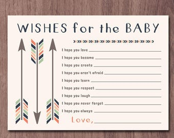 WISHES for BABY Tribal Arrows Wishes for the baby boy Baby Shower Game Boho Boy Tribal Baby Shower Navy Green Orange Printable PDF Printable