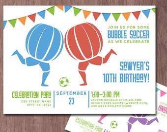 Bubble Soccer Invitation Birthday Party Knockerball Invite Bubble Ball Football Bubble Soccer Birthday Invitation Knockerball Party Boy Girl