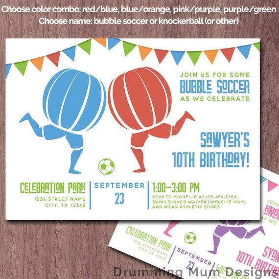 Bubble soccer invitation birthday party knockerball invite etsy image 0 filmwisefo