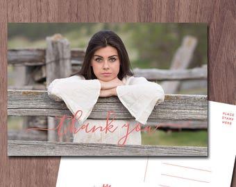 Graduation Thank You POSTCARD Photo Card Photo Thank You Modern High School College Graduation Thank you Card Postcard Wedding Baby Shower