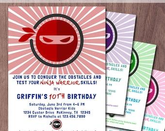 Ninja Warrior Invitation Birthday Party Obstacle Course American Ninja Warrior Party Invite Kids Ninja Party Boy Girl Parkour Printable PDF