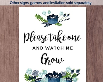 Baby Shower Succulent Favors Sign Watch Me Grow 8x10 Take home a cactus Baby Boy Shower Favor Rustic Wood Blue Flowers Wreath Vintage Print
