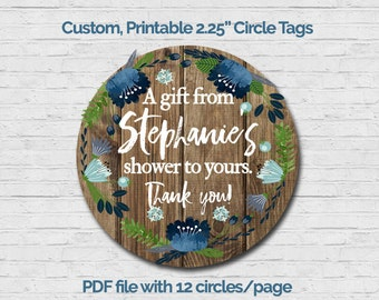Baby Boy Shower Favor Tag Custom Thank You Tag Gift Tag Circle Thank You Tag Rustic Wood Flowers Matching Invite Diaper Raffle Book Vintage