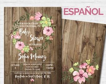 SPANISH Baby Shower Invitation Girl Invitación en Español Rustic Wood Flowers Baby Shower Invite Diaper Raffle Rifa de Pañales Pink Vintage