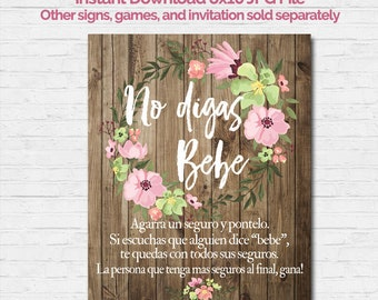 SPANISH Don't Say Baby Shower Game Sign 8x10 Español No Digas Bebe Girl Baby Shower Pink Rustic Wood Flowers Watercolor Vintage Instant