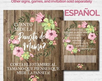 SPANISH How Big is Mommy's Belly La Pancita de Mama Guess Waist Size Baby Shower Game Sign 8x10 Girl Rustic Wood Watercolor Pink Flowers