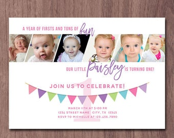 Modern Photo Collage Girl First Birthday Invitation 6 Photos Pictures 1st Birthday Invite Boy 1 year old in a flash Birthday Party banner