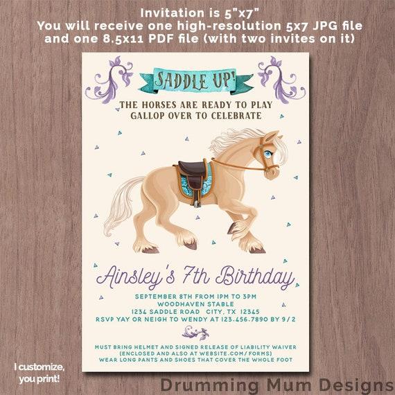 Horse Birthday Party Invitation Pony Invite Purple and Teal | Etsy