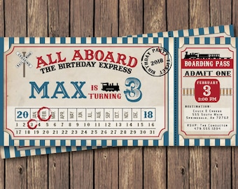 Train Birthday Invitation Party Vintage Ticket