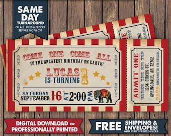 Circus Birthday Invitation Party Vintage Ticket