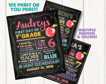 First Day of School Sign - Digital OR Printed Poster. First Day of School Chalkboard. Back to School Sign. First Day of Kindergarten Sign.