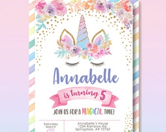 Unicorn Birthday Invitation Party Magical Rainbow