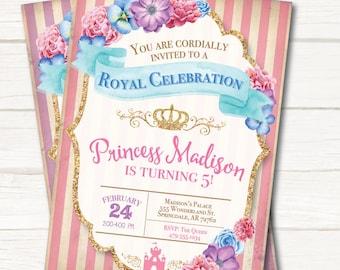 princess birthday invitation princess invitation princess birthday party princess party pink princess party vintage princess