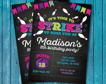 Bowling Party Invitation. Bowling Invitation. Bowling Birthday Invitation. Girl Bowling Invitation. Bowling Birthday Party Invitation