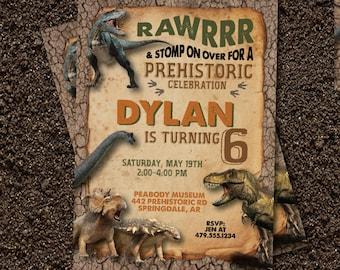 Dinosaur Birthday Invitation. Dinosaur Invitation. Dinosaur Birthday Party. Dinosaur Party.