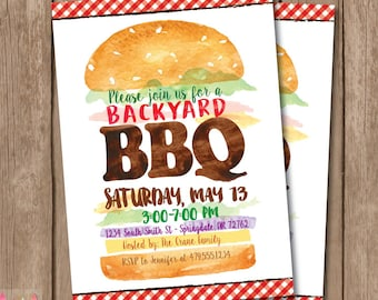 Backyard BBQ Invitation. BBQ Invitation. Summer BBQ. Bbq Party. Barbecue Party. Barbecue Invitation.