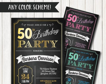 50th birthday invite etsy filmwisefo